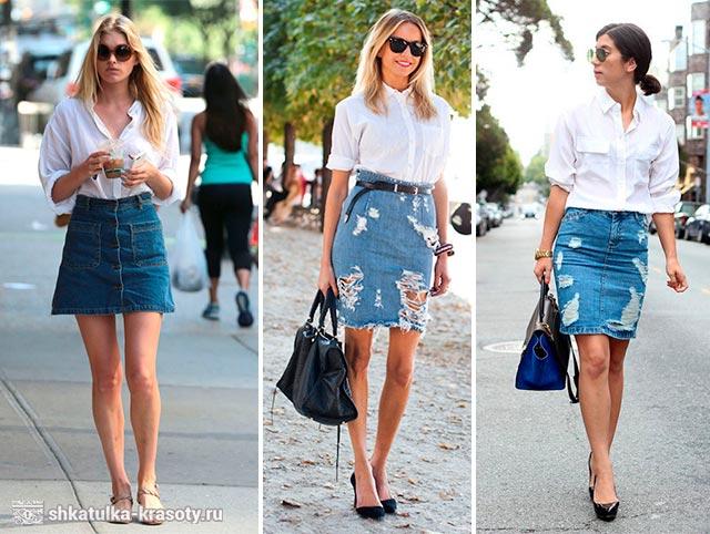 джинсовая юбка с чем носить фото
