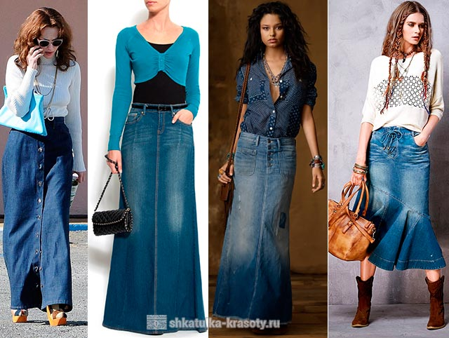 Чем одеть длинную джинсовую юбку