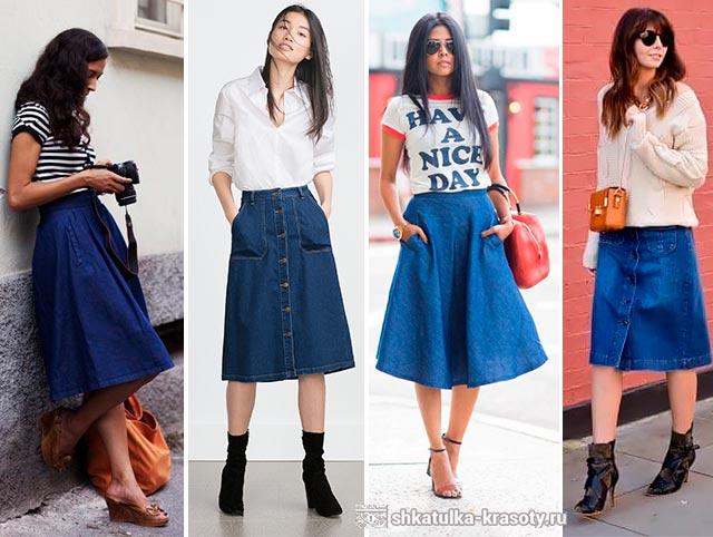 Как носить джинсовую юбку миди фото
