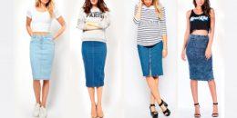 С чем носить джинсовую юбку — фото