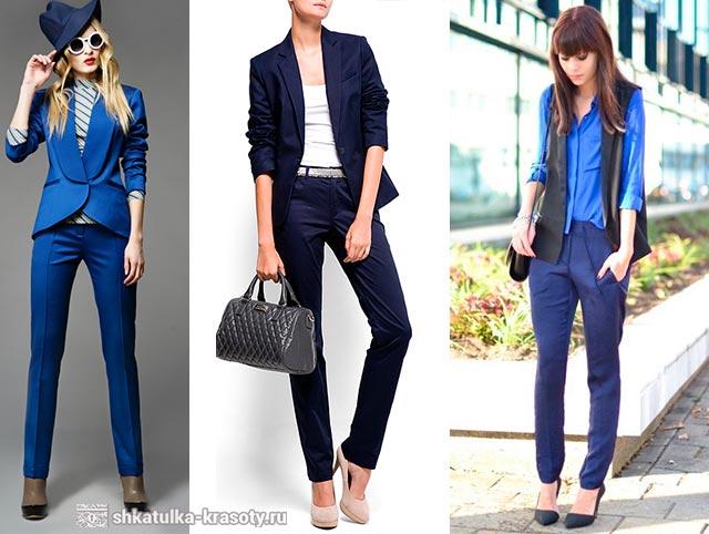 с чем носить синие брюки фото