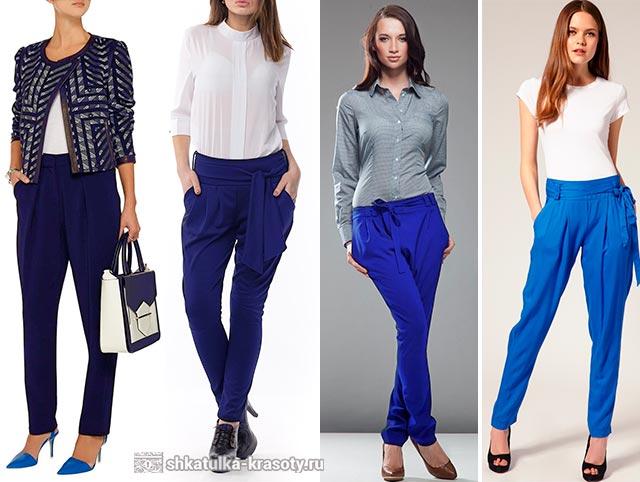 с чем носить синие брюки галифе