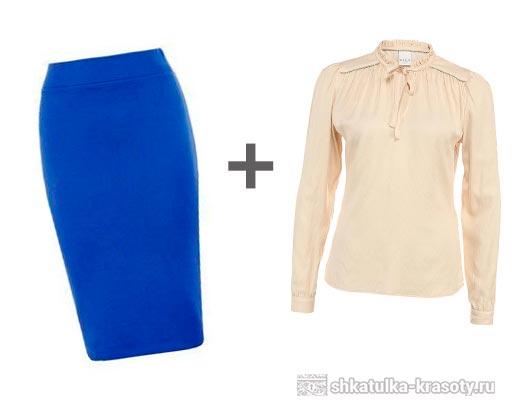 синяя юбка карандаш