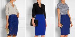 Синяя юбка карандаш — с чем носить 120 фото!
