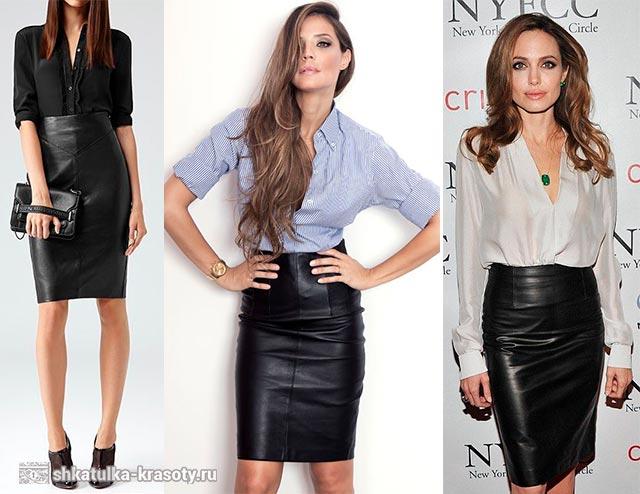 Черная кожаная юбка и черный верх