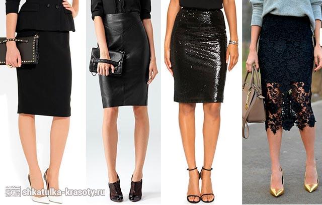 черная юбка карандаш с чем носить фото