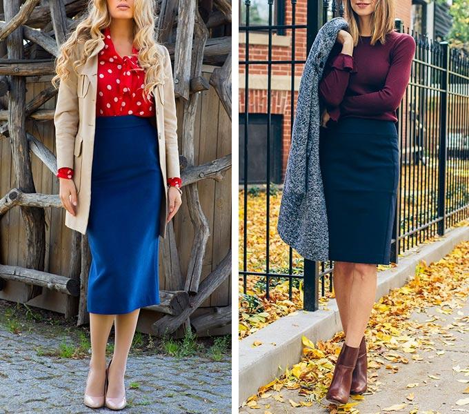 синяя юбка с красным или бордовым верхом