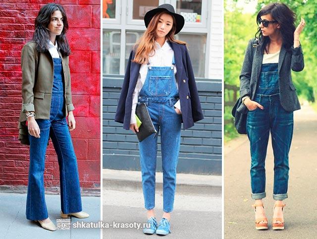 с чем носить джинсовый комбинезон фото