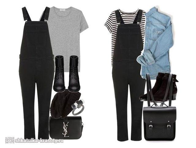 C чем носить джинсовый комбинезон черный