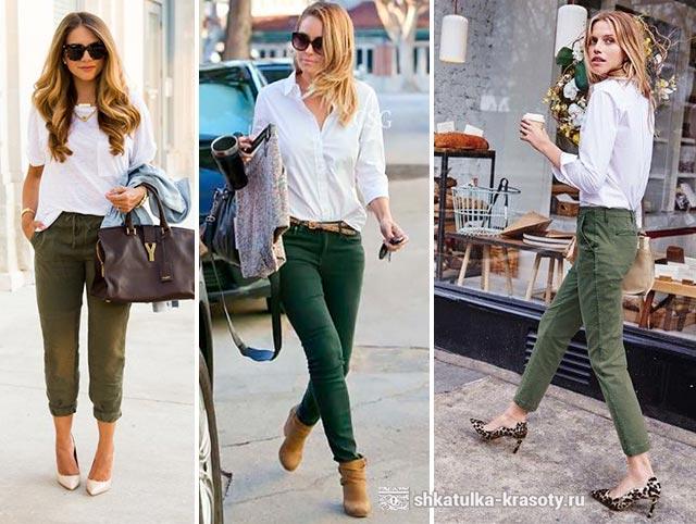 с чем носить зеленые брюки