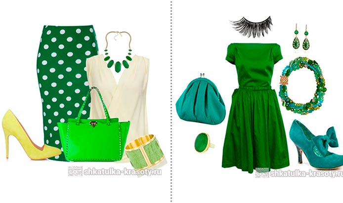 с чем сочетать зеленый в одежде