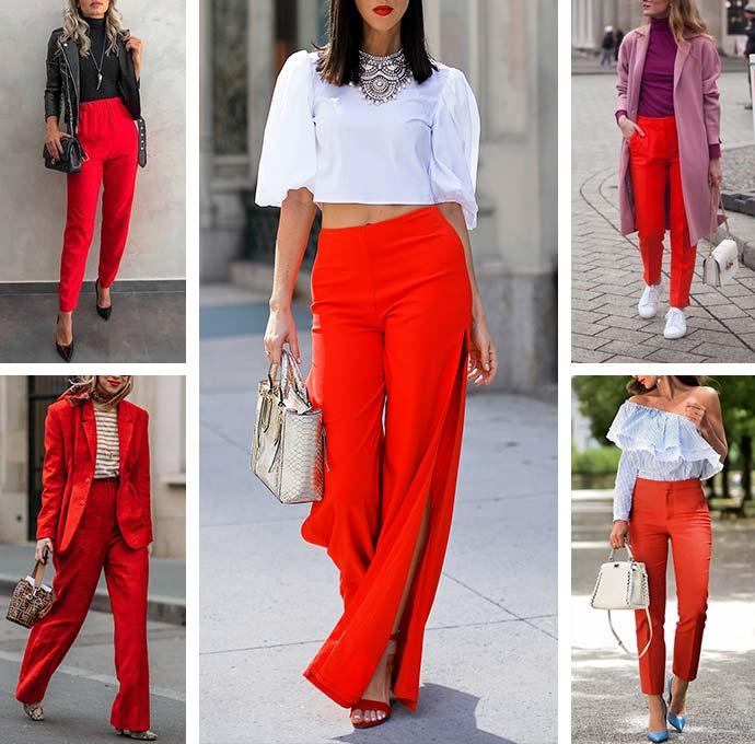 с чем носить красные брюки - образы для девушек
