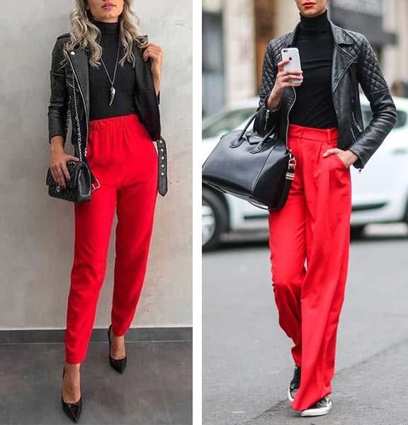 аутфит с красными высокими брюками, водолазкой, черной кожаной курткой
