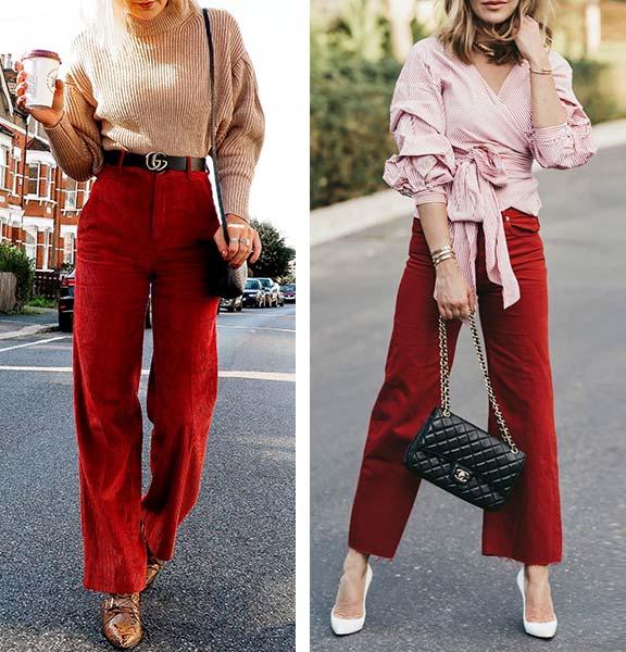 сочетание темно-красных брюк со светлым верхом