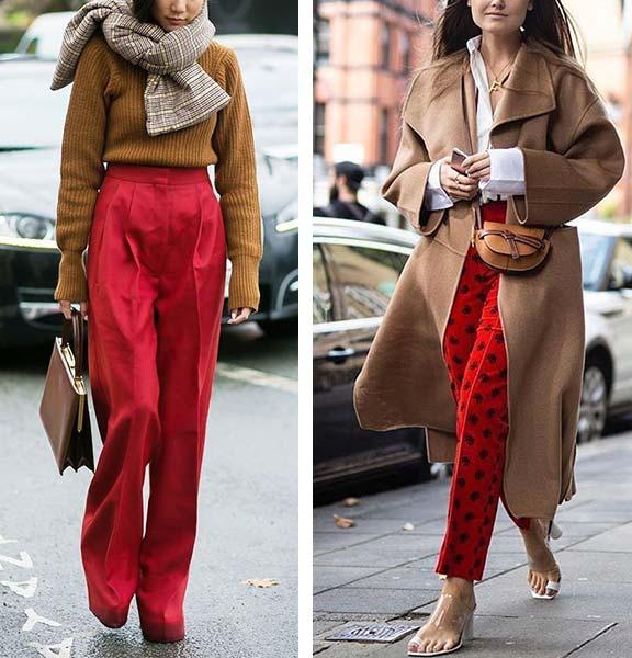 коричневый верх в сочетании с красными брюками