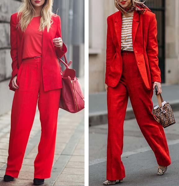 луки с красными костюмами для женщин