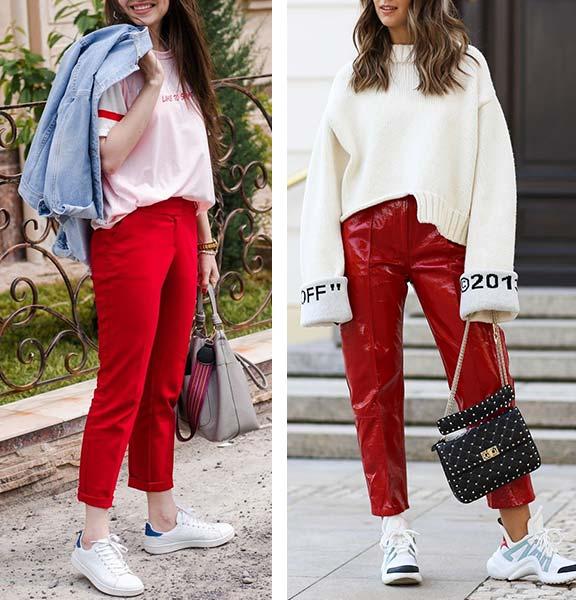 красные брюки женские с кроссовками