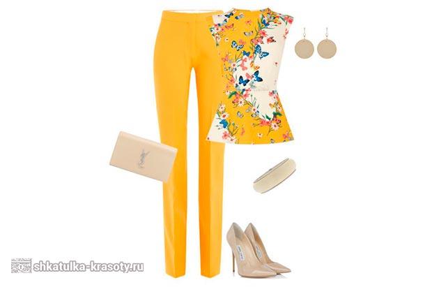 с чем носить желтые брюки