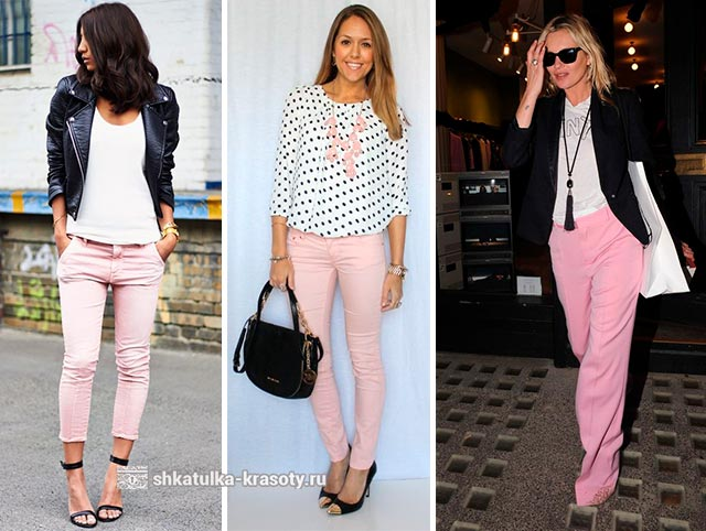 с чем носить розовые джинсы