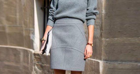 с чем носить серую юбку карандаш