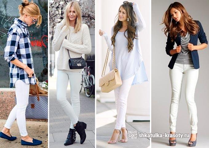 Белые узкие белые джинсы, брюки