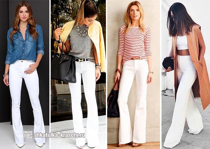 С чем носить белые джинсы, брюки-клеш