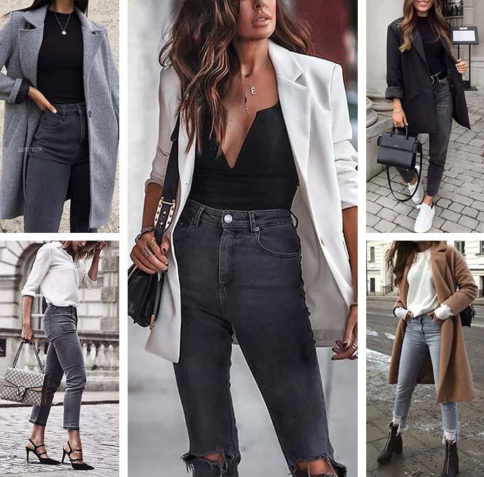 с чем носить серые джинсы - образы