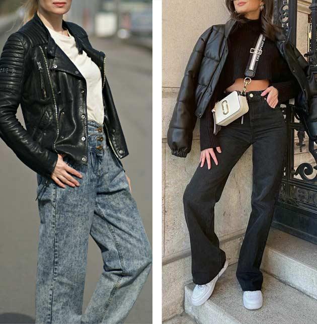 сочетаем куртку из кожи с широкими серыми джинсами