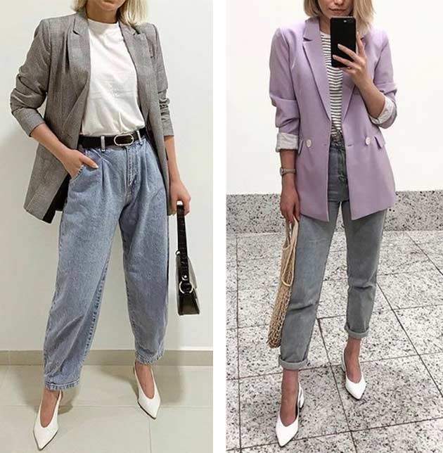 луки с жакетом, пиджаком и серыми джинсами