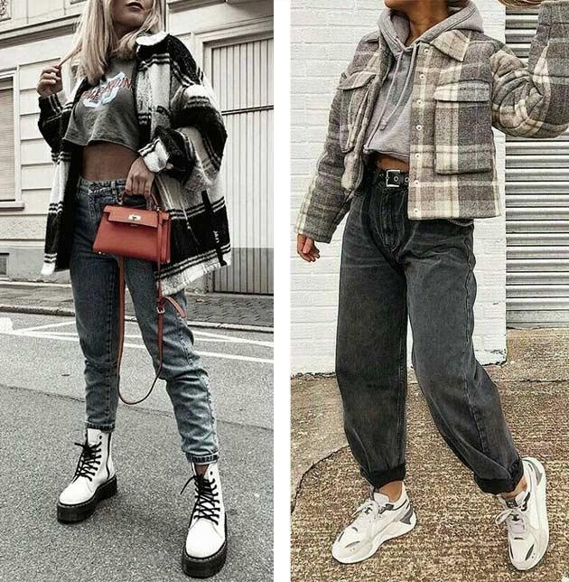 куртка-рубашка в паре с широкими джинсами, кроссами, тимберлендами