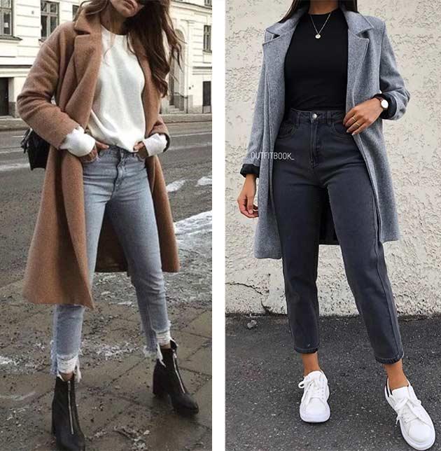 образы с серыми джинсами и пальто