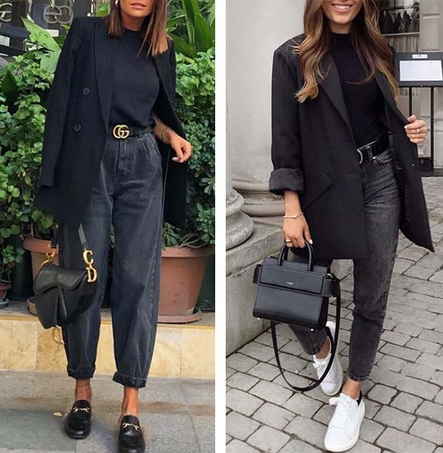 образы с черным жакетом, футболкой, черными джинсами, лоферами, кедами