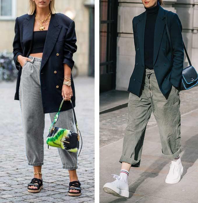 широкие серые джинсы слоучи с черным пиджаком