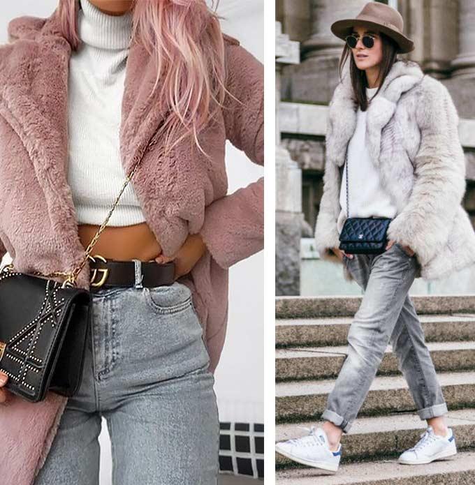 серые джинсы с шубой - женский образ