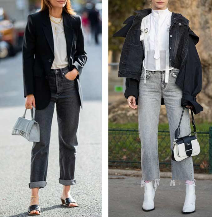 аутфит с серыми джинсами и черно-белым верхом