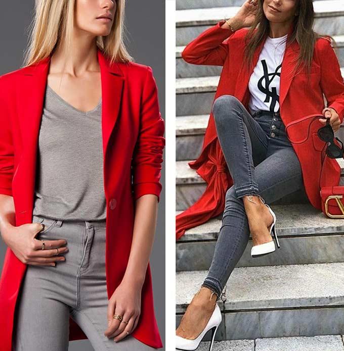 луки с красным пальто для девушек и женщин