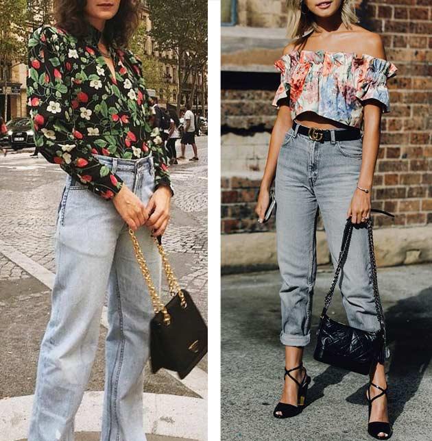луки с блузкой в цветочный принт и серыми джинсами
