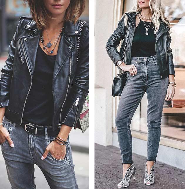 как носить джинсики с кожаной курткой