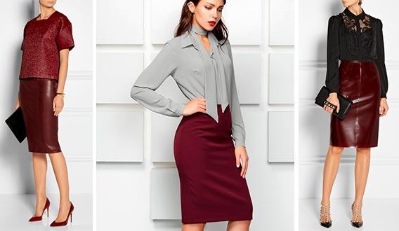 С каким цветом сочетается бордовая юбка