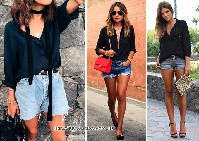 черная блузка с джинсовыми шортами