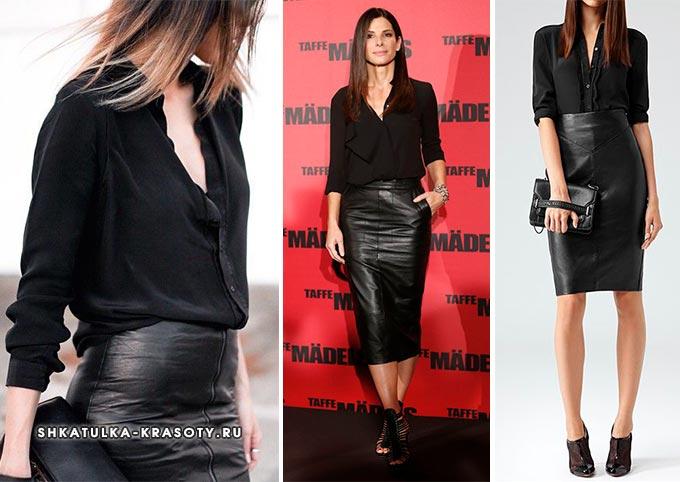 с чем носить черную блузку