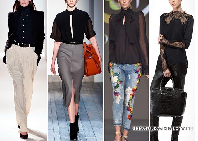 черная блузка на модных показах