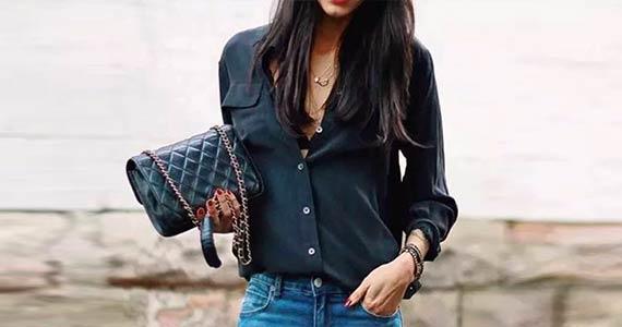 с чем носить черную рубашку, блузку