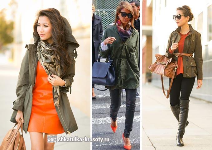 оранжевый в сочетании с цветом хаки в одежде