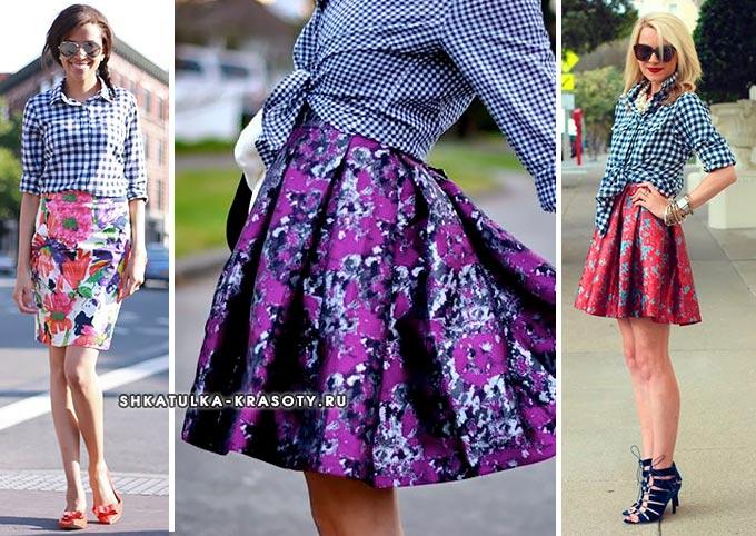 клетчатая рубашка и юбка в цветочный принт