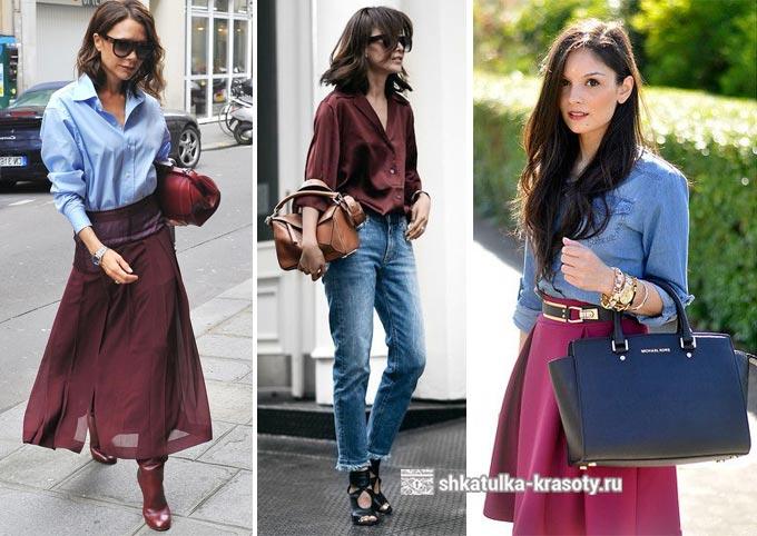 голубой и бордовый цвета в одежде