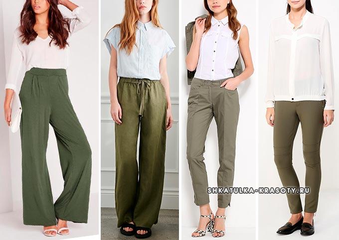с чем носить брюки цвета хаки