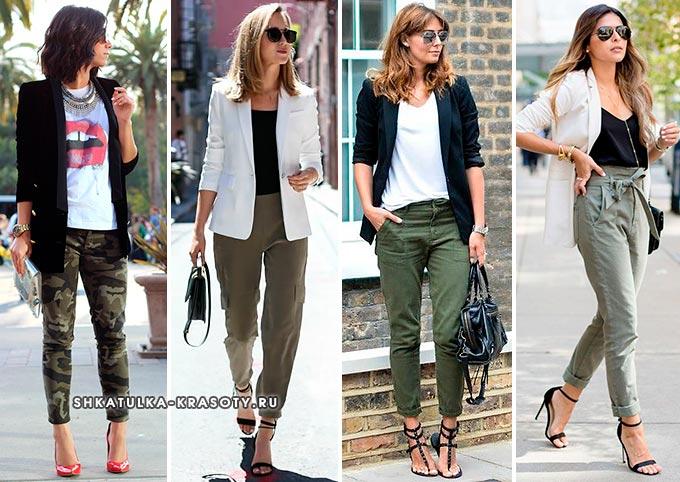 с чем носить брюки цвета хаки женские