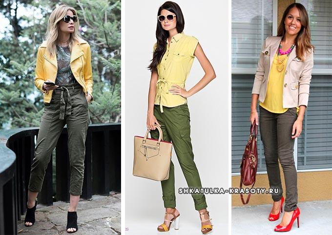 с чем носить и сочетать брюки цвета хаки