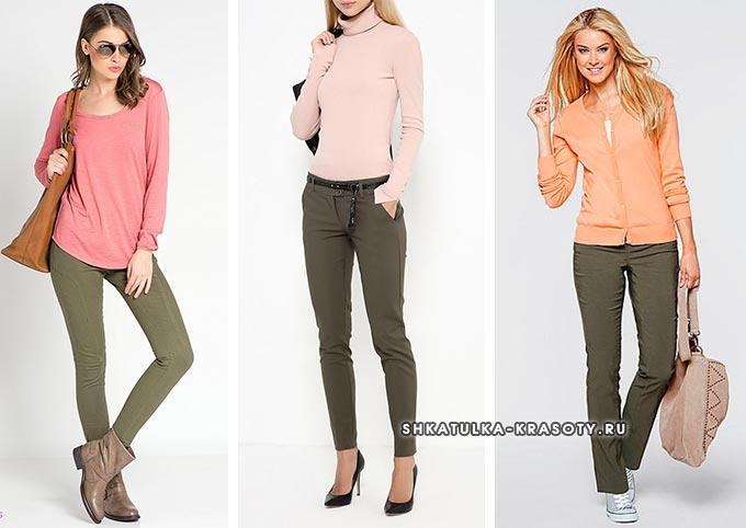 брюки цвета хаки и пастельный верх